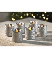 6 GLITTER SILVER LED VOTIVE CANDLES/DECORATION/CHRISTMAS/WEDDING