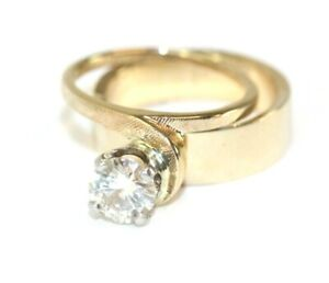 14K YELLOW GOLD, Solitaire Moissanite Womens 2-Pc Band/Ring: SIZE 5, 7.1 Grams