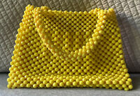 Vintage 1960s Raffia Yellow Beaded Crocheted Bag Purse Handbag – Made in Italy