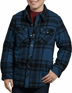 Dickie's Sherpa Lined Snap Button Flannel Shirt Jacket Plaid Blue Boys L Large