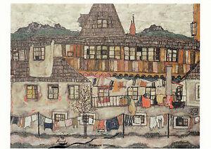 Kunstkarte: Egon Schiele - Haus mit trocknender Wäsche