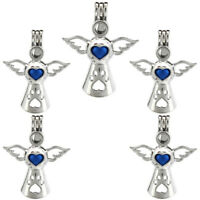 5X-K572 Beads Pearl Cage Wing Angel Diffuser Locket Pendant Silver Color