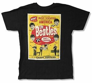 Beatles Chart Toppers Black T Shirt New Official Help Hold Your Hand