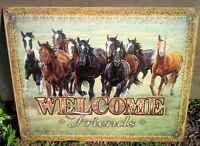 Horse Friends Welcome Metal Tin Sign Picture Rustic Country Western Decor Gift
