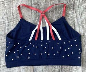 NEW CACIQUE LANE BRYANT BLUE RED WHITE STARS SEAMLESS STRAPPY BRALETTE BRA 14/16