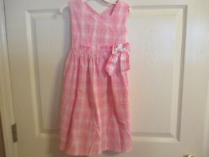Bonnie Jean Size 6 Girls Pink Plaid Waist Band With Ribbon & Bow