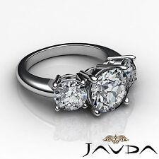 2.5ct Classic Round Cut Diamond 3 Three Stone Engagement Ring GIA F VS2 Platinum