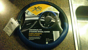 Auto XS New Steering Wheel Cover Universal Fit Blue Black Anti Slip Grip Leather