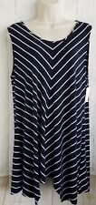 Ellen Tracy Womens Top Blouse Asymmetrical Chevron Soft Size XL Blue A4