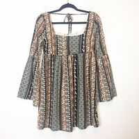 Altar'd State Womens Black and Orange Floral Boho Babydoll Dress Size Small