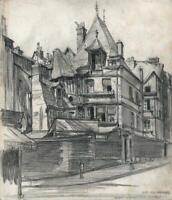 FRANK LEWIS EMANUEL (1865-1948) Pencil Drawing RUE DES HARANGUERIE ROUEN FRANCE