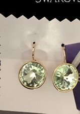 NEW MADE with SWAROVSKI CRYSTAL ROUND GREEN GOLD PIERCED DROP EARRINGS