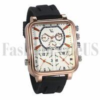 Mens Roman Numerals Square Dial Multi Time Leather Band Sport Quartz Wrist Watch
