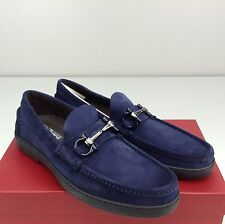 Salvatore Ferragamo Memphis Men's Shoe Bit Blue Suede Loafers Slip On 7.5 D