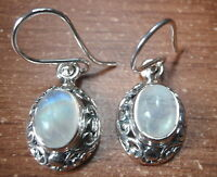 Moonstone with Intricate Floral Accents 925 Sterling Silver Dangle Earrings