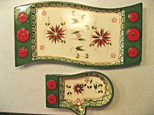 Temp-Tations Old World Cracker and Dip Christmas Trays - Matching Holiday Trays
