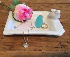 SASS AND BELLE WHITE CERAMIC BIRD RING SOAP DISH PLATE JEWELLERY TRINKET HOLDER