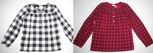 $49 NEW Lands End Girls 100% Cotton Flannel Long Sleeve Top Size 10