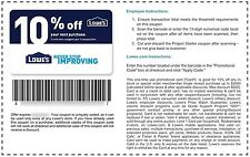 1 (One) LOWE'S 10% off purchase In-Store & Online Discount Expiration: 8/31/2017