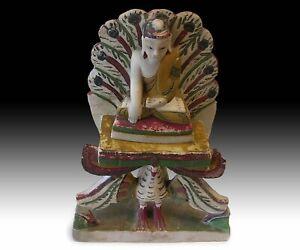 19th Century Burmese Amitabha Buddha On Peacock Marble Stone Shrine