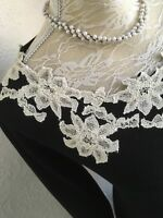MONSOON 'LILY' SIZE L 16/18 BLACK & IVORY APPLIQUÉ LACE KNITTED JUMPER DRESS