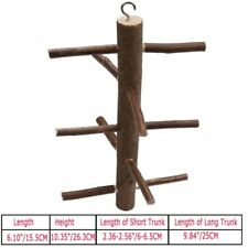New listing For Pet Birds Parrot Wooden Rotating Stairs Standing Bar Stand Toy Log-Color