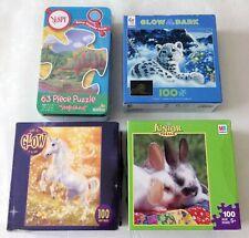 4 Kids Puzzles: 1 63-Piece I Spy, 3 100-Piece Animals Glow-In-The-Dark COMPLETE