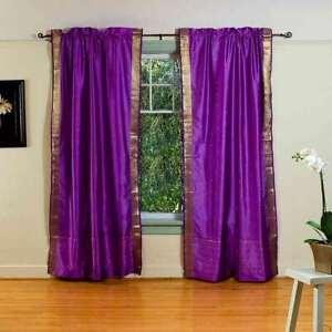 Purple Rod Pocket  Sheer Sari Curtain / Drape / Panel  - Piece
