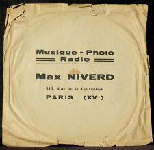 Pochette Cover Sleeve 78 trs Max Niverd rue de la Convention Paris XVe VG