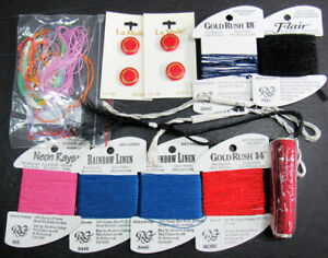 11xNeedlepoint/Embroidery THREAD RG GoldRush 14&18/R Linen/Flair+more thrd-IW57