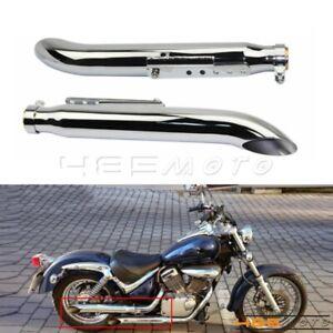 2X Chrome Exhaust Muffller Pipe for Harley Suzuki VL 125 800 1500 1400 Intruder