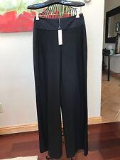 New Trina Turk Black Tuxedo Pants, Pintuck Pleat Waist, Flared Legs, Size 2