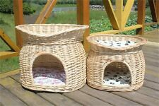 Handmade Two Tier Wicker Cat Condo Pet Cave Bed Kitty House Nap Bed