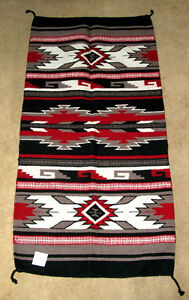 """Thick Hand Woven Wool Throw Rug / Tapestry Southwestern 32""""x 64""""  331"""
