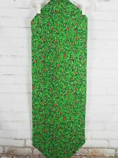 Christmas Table Runner - Green Cotton Fabric Pine Needles & Red Berries 45x16
