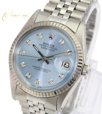 Rolex Mens Datejust  Stainless Steel 1601 Ice Blue Dial Fluted Bezel 36mm Watch