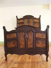 "Magnificent Original 1900 Art Nouveau Hand Carved Walnut Wooden Full Bed 53""x76"""