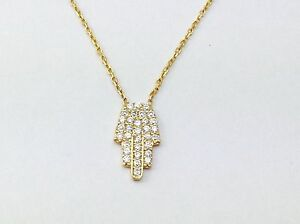 Hamsa Sterling Silver Gold Plated Necklace Pendant Cz Crystal Evil Eye Hand