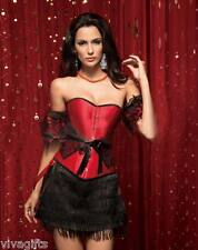 Lovely Burlesque Classic Red Corset Costume with Black Lace - Sz  8/10