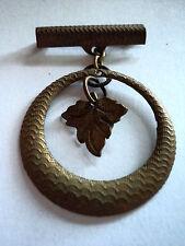 Circle & Leaf Drop Brooch Antique Engine Turned Brass Medal Style