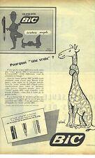 """PUBLICITE ADVERTISING 1958  BIC stylo à pointe """"Pourqoui une vraie ? """"   300912"""