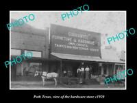 OLD LARGE HISTORIC PHOTO OF POTH TEXAS, VIEW OF THE HARDWARE STORE c1920