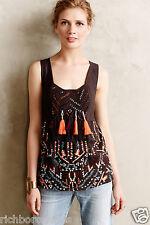 NEW Anthropologie Akemi & Kin  brown Tassel Embroidered Pom Pom Tank Top  M