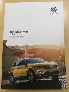 VW T-ROC Bedienungsanleitung Betriebsanleitung (Ausgabe 11.2018) **NEU**