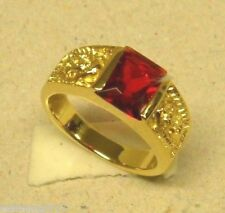 Men's Square Red Ruby CZ Stone Yellow Gold Plated Ring Mother Mary Size 11 New