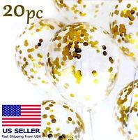 """20pcs Gold Confetti Balloons Latex Wedding Shiny Birthday Party Decor 12"""" US"""