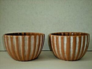 Pair of Haeger Bowl Planter Ribbed Pleated Pottery beige tone vtg Rare