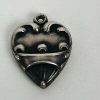 Vintage 1940s Sterling Silver Puffy Heart Bracelet Charm Banner Swirls 'Red'