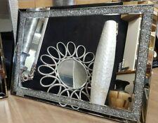 Jewel Diamond Crystal Glass Gem Crushed Diamante Bevelled Wall Mirror 66x91cm