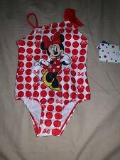 Size 2T Disney Minnie Mouse White Red Polka Dots Bows Swimsuit Swim Bathing Suit